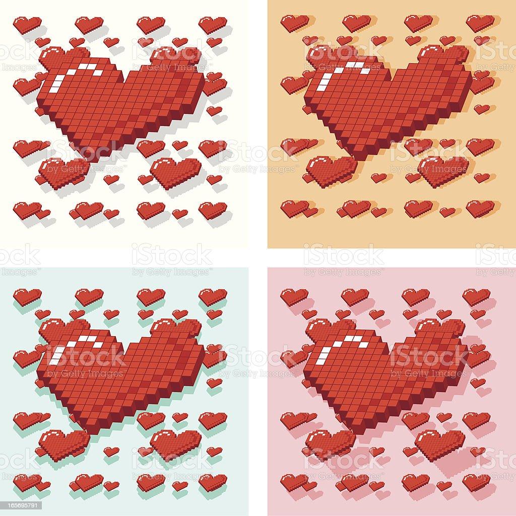 Valentine 'Love Heart' Pixel Pattern royalty-free stock vector art