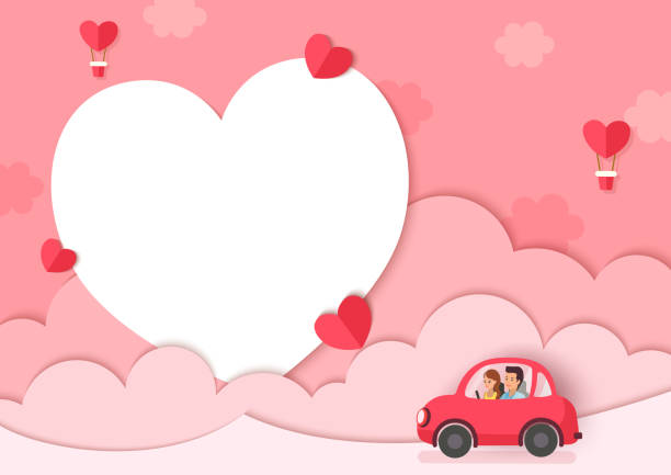 valentine lover on car Illustration of lover on car with pink background and heart frame boyfriend stock illustrations