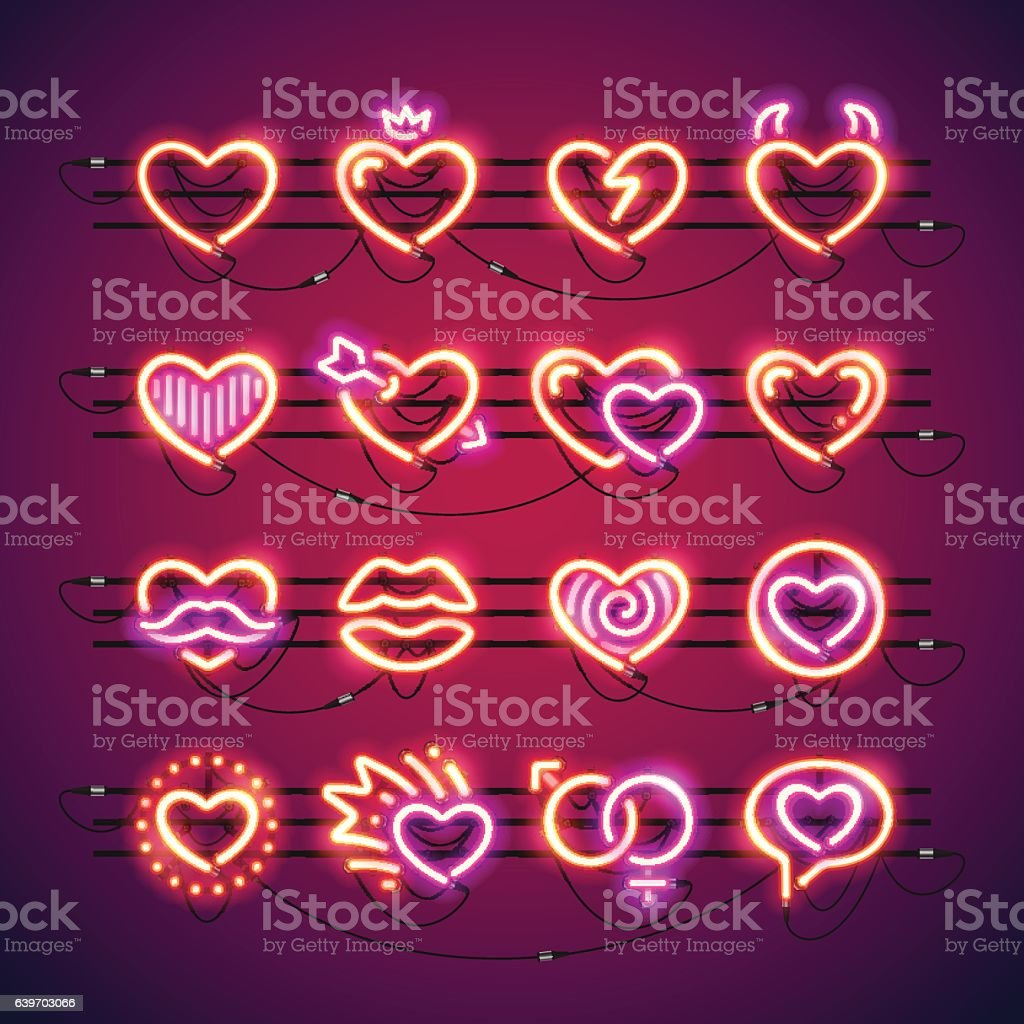 Valentine Neon Hearts vector art illustration