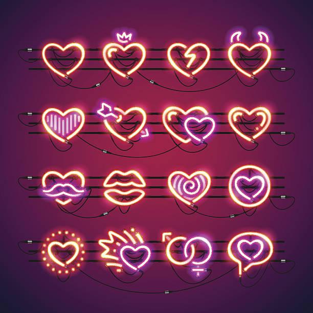 stockillustraties, clipart, cartoons en iconen met valentine neon hearts - kussen met de mond