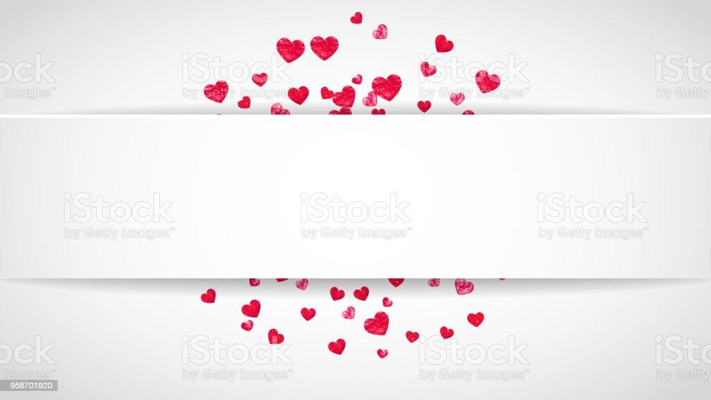 Valentine Papier Rahmen Mit Rosa Glitzer Herzen Februar 14 Tag ...