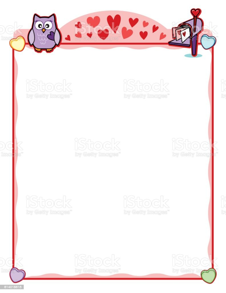 Valentine Party Frame With Owl And Love Letter Mailbox Stock Vector ...