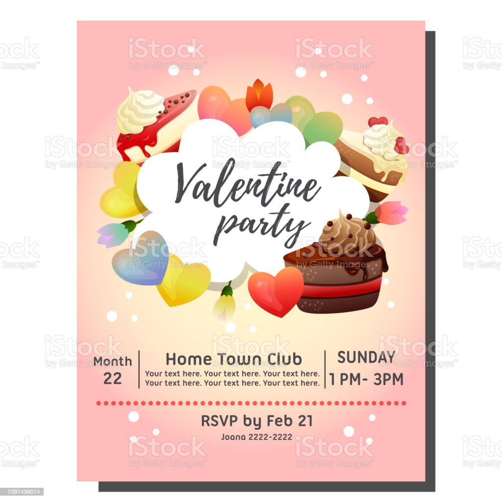 Valentine Party Invitation Card With Slice Of Chocolate Cake