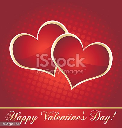 Valentine red and golden hearts greeting card