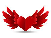 Valentine Red Heart with Wings, Vector Illustration