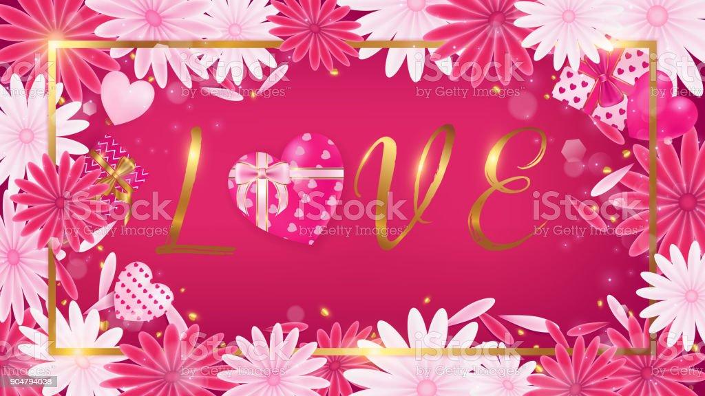 Valentine red magenta banner