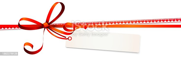 istock valentine ribbon bow with hearts and hang tag 1302278125