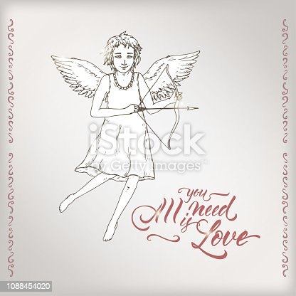 istock Valentine romantic card with cupid and brush lettering saing All you need is love. 1088454020