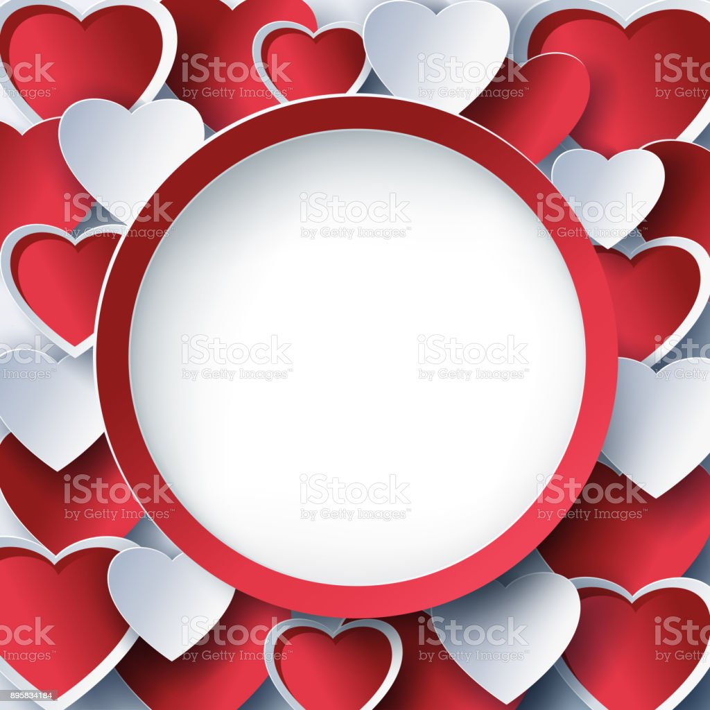 Valentine Round Frame With D Red Hearts Royalty Free Valentine Round Frame With D Red