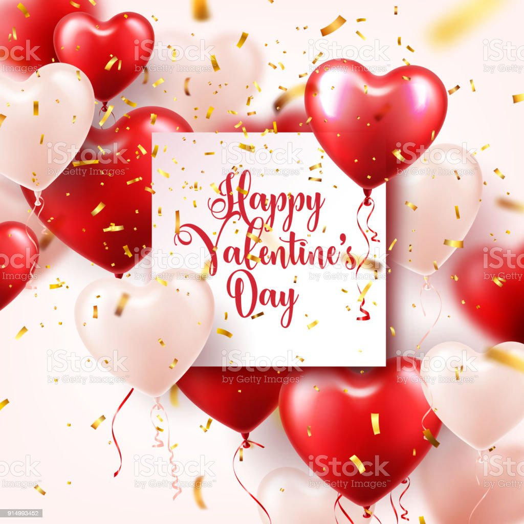 Valentine S Day Abstract Background With Red 3d Balloons And Golden Confetti Heart Shape