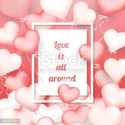 istock Valentine 's day background, Pink heart shaped balloons with mes 637972614