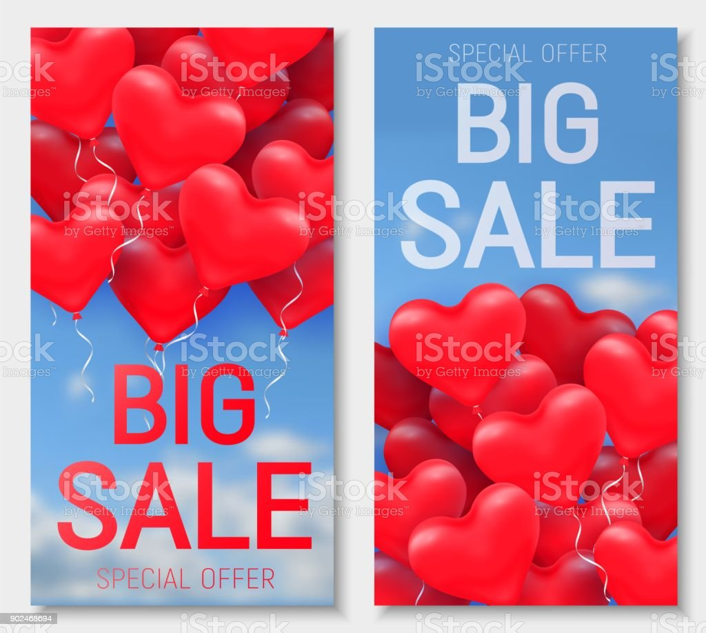 Valentine s day big sale offer banner template red 3d glossy heart valentine s day big sale offer banner template red 3d glossy heart balloon with buycottarizona Image collections