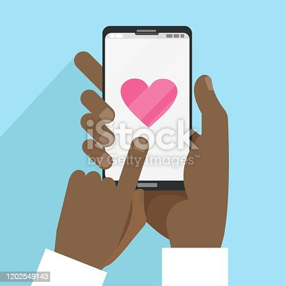Valentine s Day card with black male hands holding smart phone with heart in flat cartoon style. Social media communication.