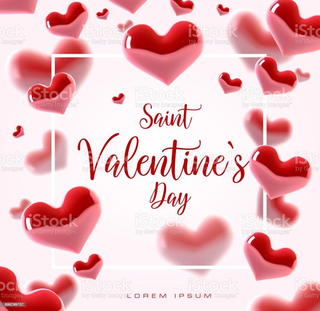Valentine S Day Konzept Vektorillustration 3d Bunte Herzen Mit ...
