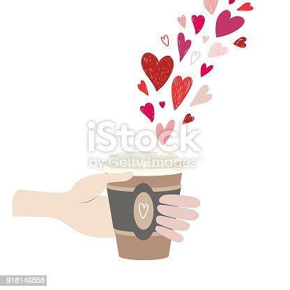 The male hand holds a cup of coffee. There are many hearts on top. Illustration for cards, invitation, banner, design