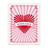 Set Valentine s day postage stamps, collection for postcard, mail envelope