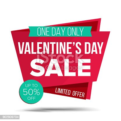Valentine s Day Sale Banner Vector. Special Offer Sale Banner. February 14 Sale Announcement. Isolated On White Illustration