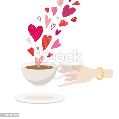 The ladys hand holds a cup of tea. There are many hearts on top. Illustration for cards, invitation, banner, design