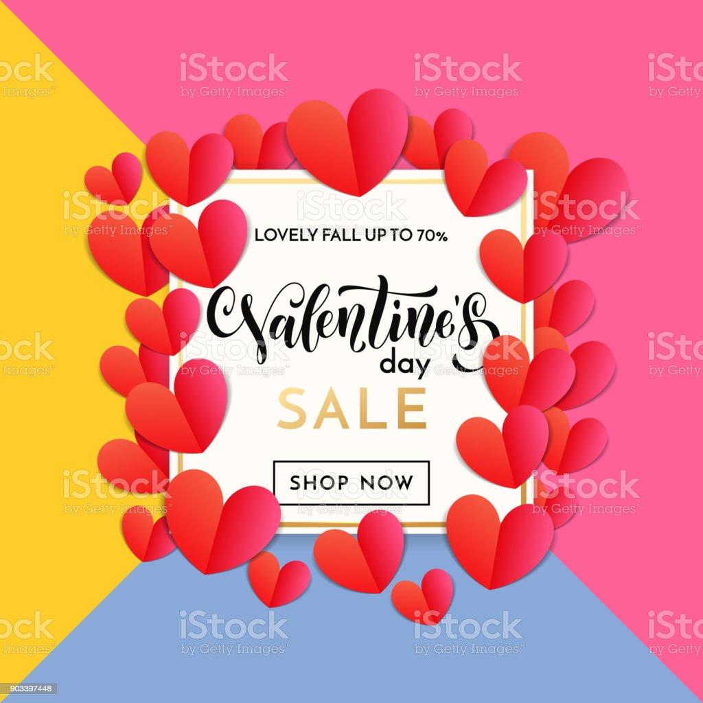 San Valentín Venta Banner O Cartel De Plantilla De Diseño Del Patrón ...