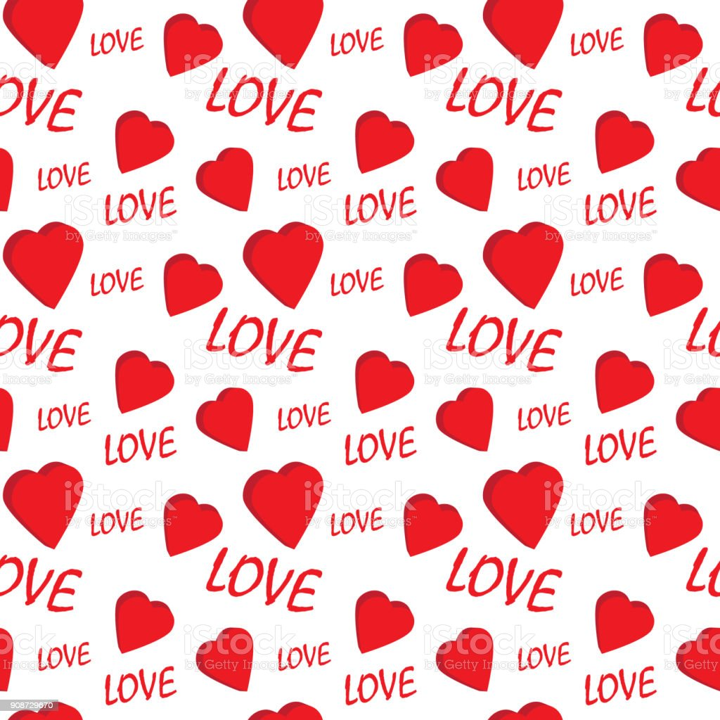 Valentine Seamless Pattern With Hearts And Love Perfect For ...