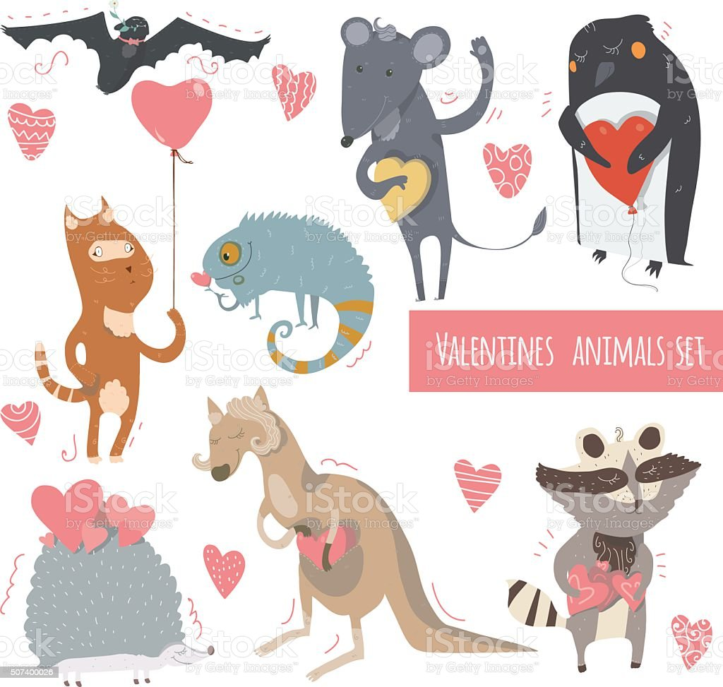 Valentine set of fun animals with hearts and flowers vector art illustration