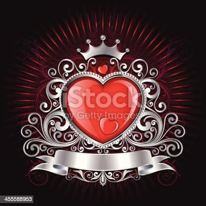 Illustration of beautiful Valentine Shield background, all elements is individual objects. No transparencies, contains AI and jpeg, user can edit easily, please view my profile with more options.
