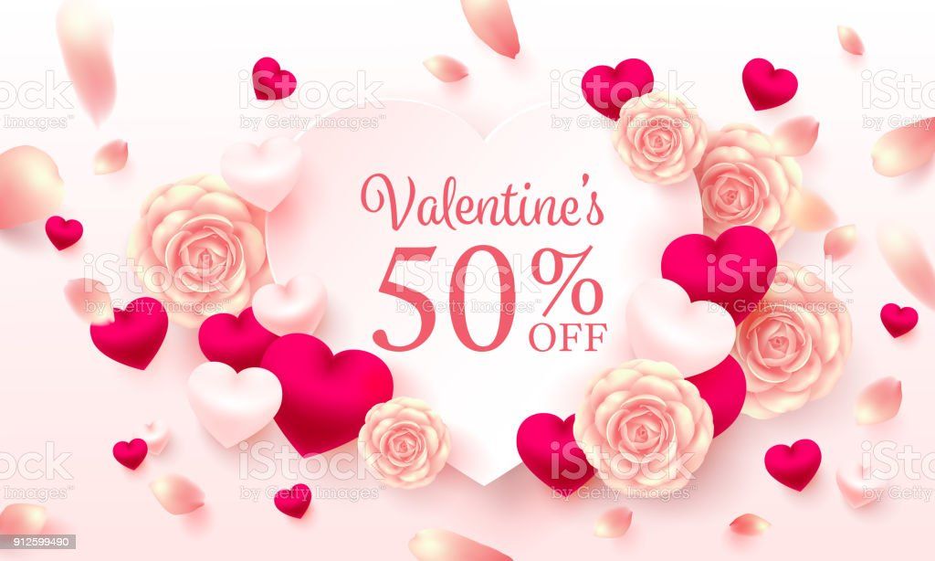 Valentine Special Offer And Sale With Text 50 Offsweet Heart And ...