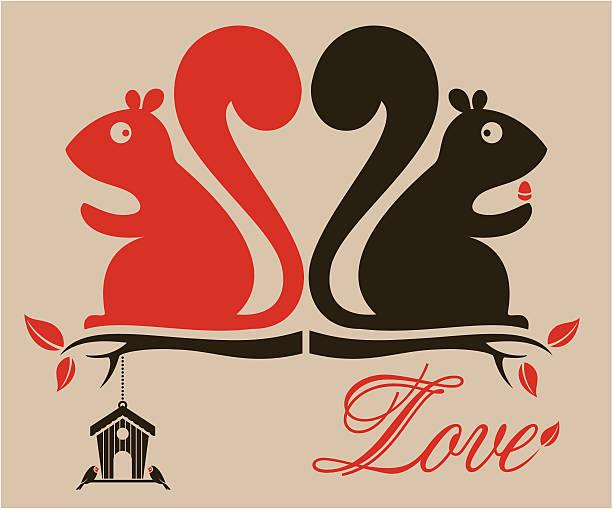 illustrazioni stock, clip art, cartoni animati e icone di tendenza di scoiattoli di san valentino - love word