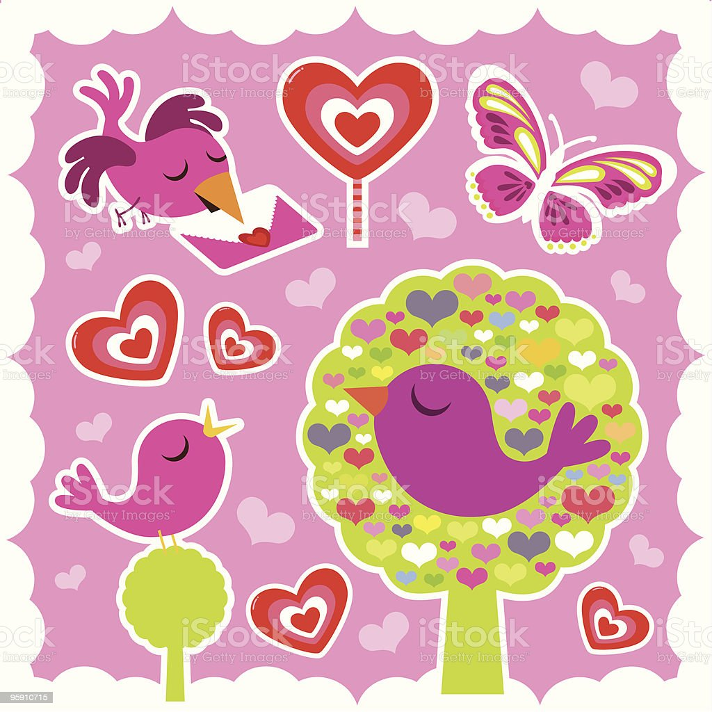 Valentine Stickers vector art illustration