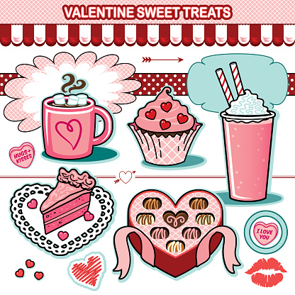 Valentine sweet treats illustration collection chocolates cupcake candy hearts cake