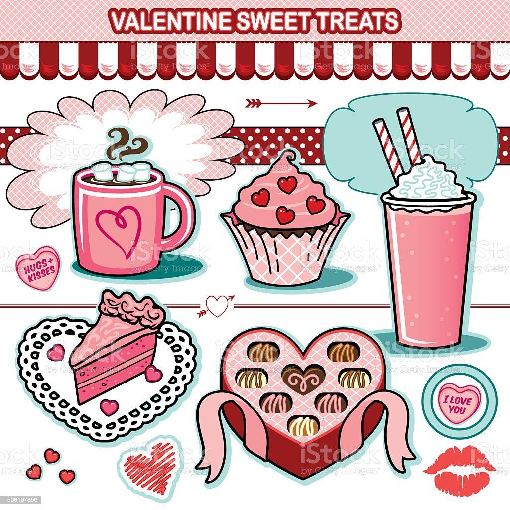 Valentine sweet treats illustration collection chocolates cupcake candy hearts cake vector art illustration