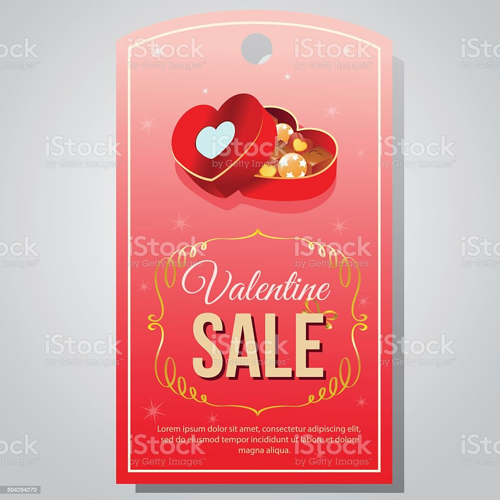 Valentine Tag Chocolate Box Stock Vector Art More Images Of Candy