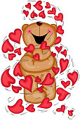 Valentine teddy bear with hearts