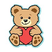 This is a vector based illustration of a brown and tan teddy bear holding a red valentine heart. The bear is soft and could be a stuffed plush toy. There are paw prints on its feet. This design represents a gift of love.