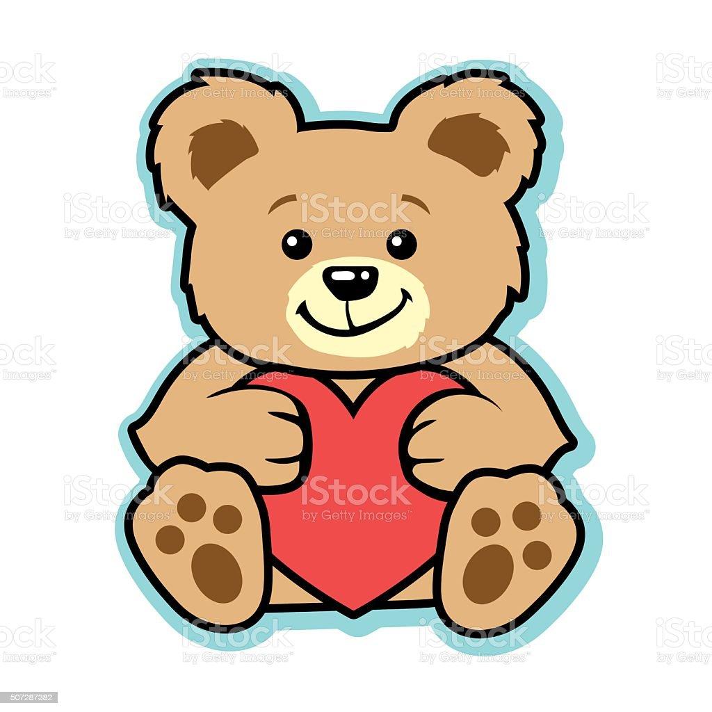 Valentine teddy bear with red heart vector art illustration