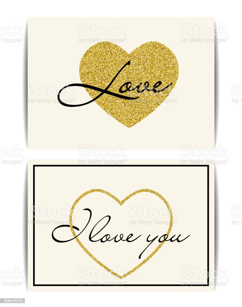 valentine template with gold glitter heart i love you text i love