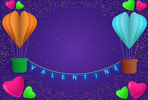 Valentine typography poster or banner with colorful flying love air balloons vector illustration