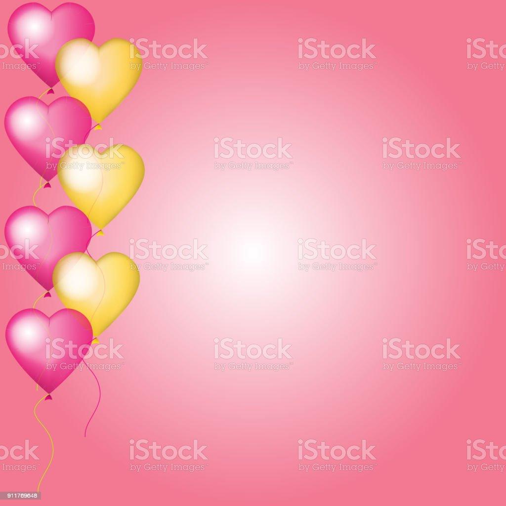 Valentine Vector Kaart Met Roze En Gouden Helium Ballonnen