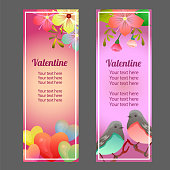 valentine vertical banner with love flower soft ornate