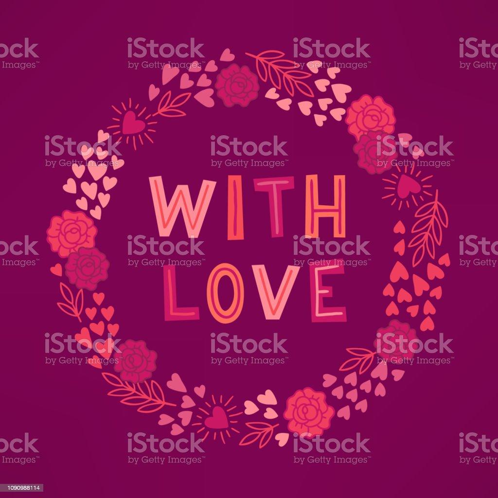 Valentine wreath with roses, hearts, branch on bordo background векторная иллюстрация