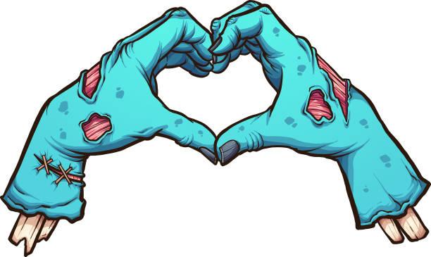 bildbanksillustrationer, clip art samt tecknat material och ikoner med valentine zombie händer - zombie
