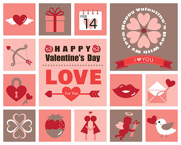 valentine icon set - birds calendar stock illustrations, clip art, cartoons, & icons