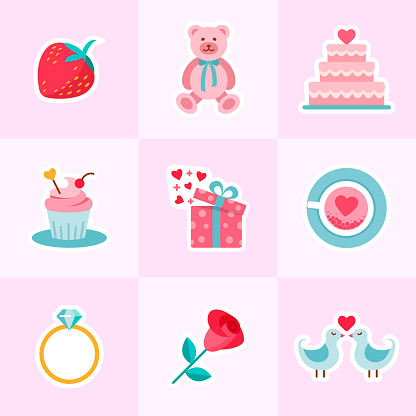 Valentine's and Wedding background in flat design style.