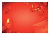 horizontal Valentine's background in red;
