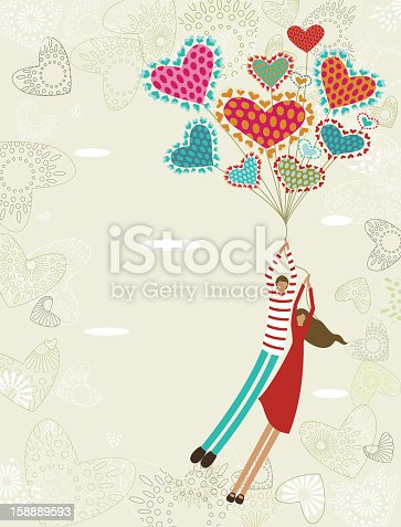 istock Valentine's background with flying lovers 158889593