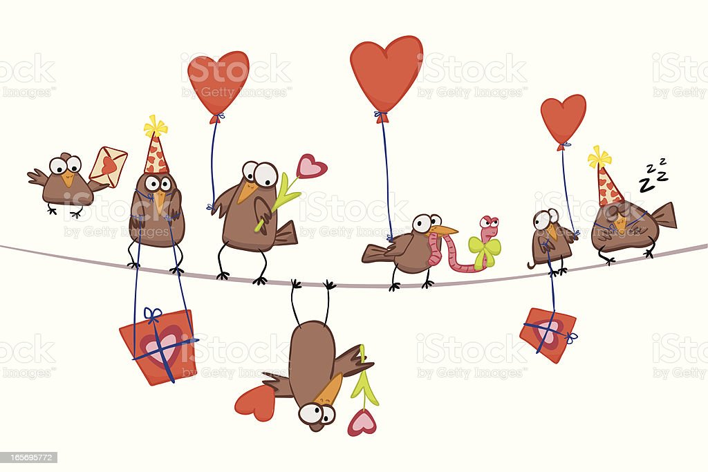 Valentine's Birds royalty-free stock vector art