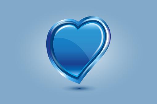Valentines blue love heart greetings card