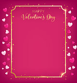 Valentines board with gold border and happy valentine`s day text