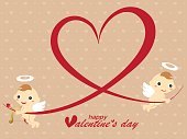 Valentine's card of angel and heart