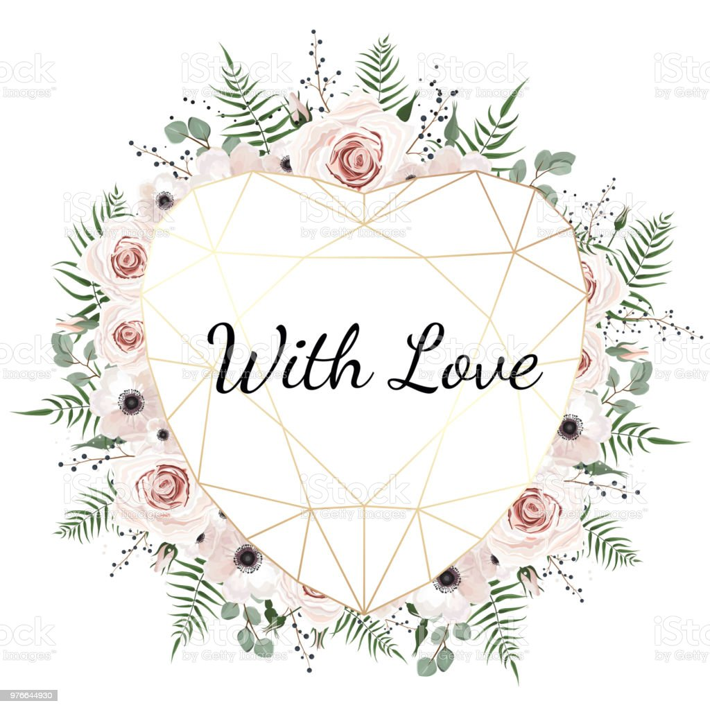 Valentines Card On White Background With Trending Polygonal Heart
